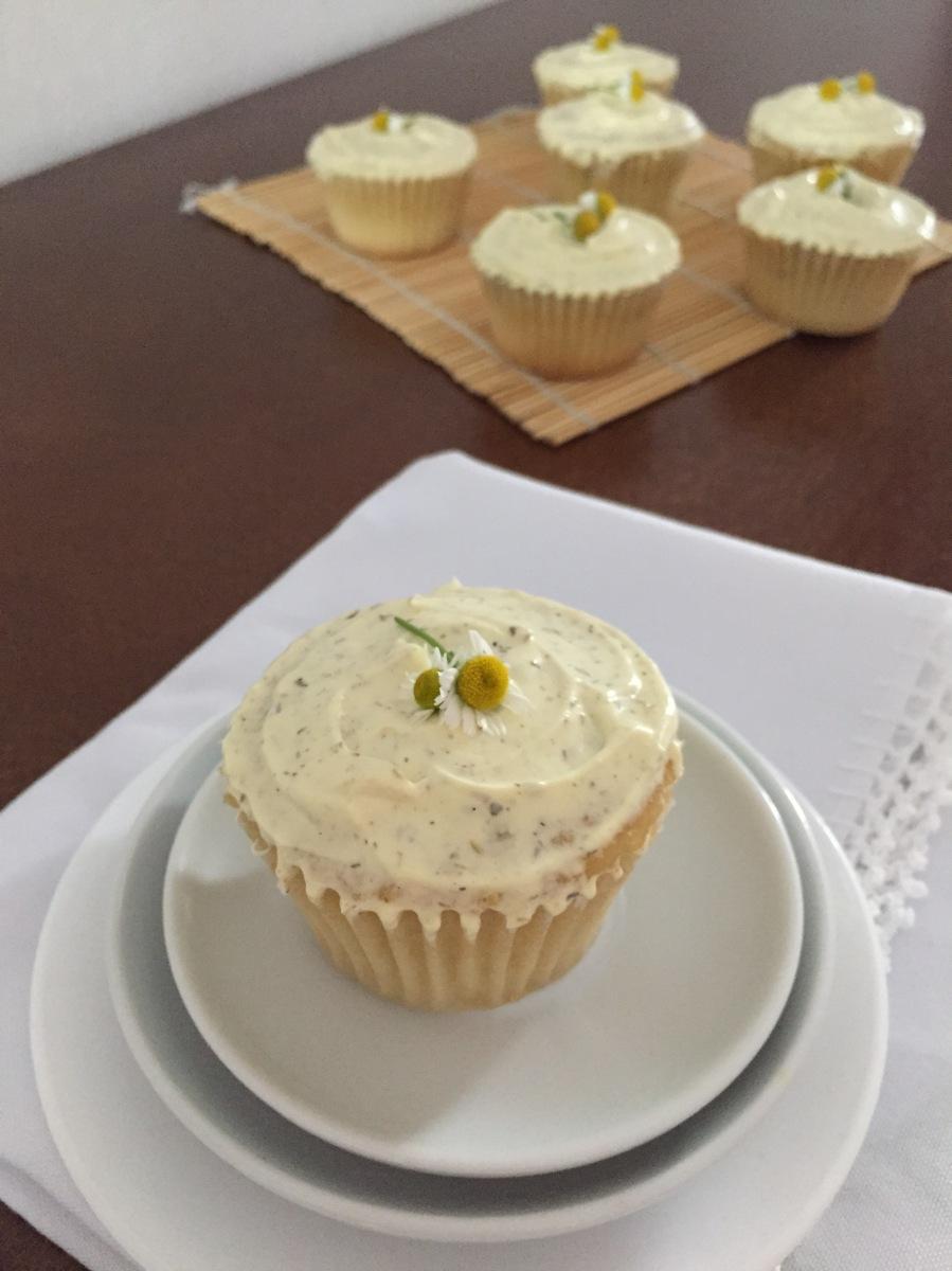 Cupcakes de flores de manzanilla