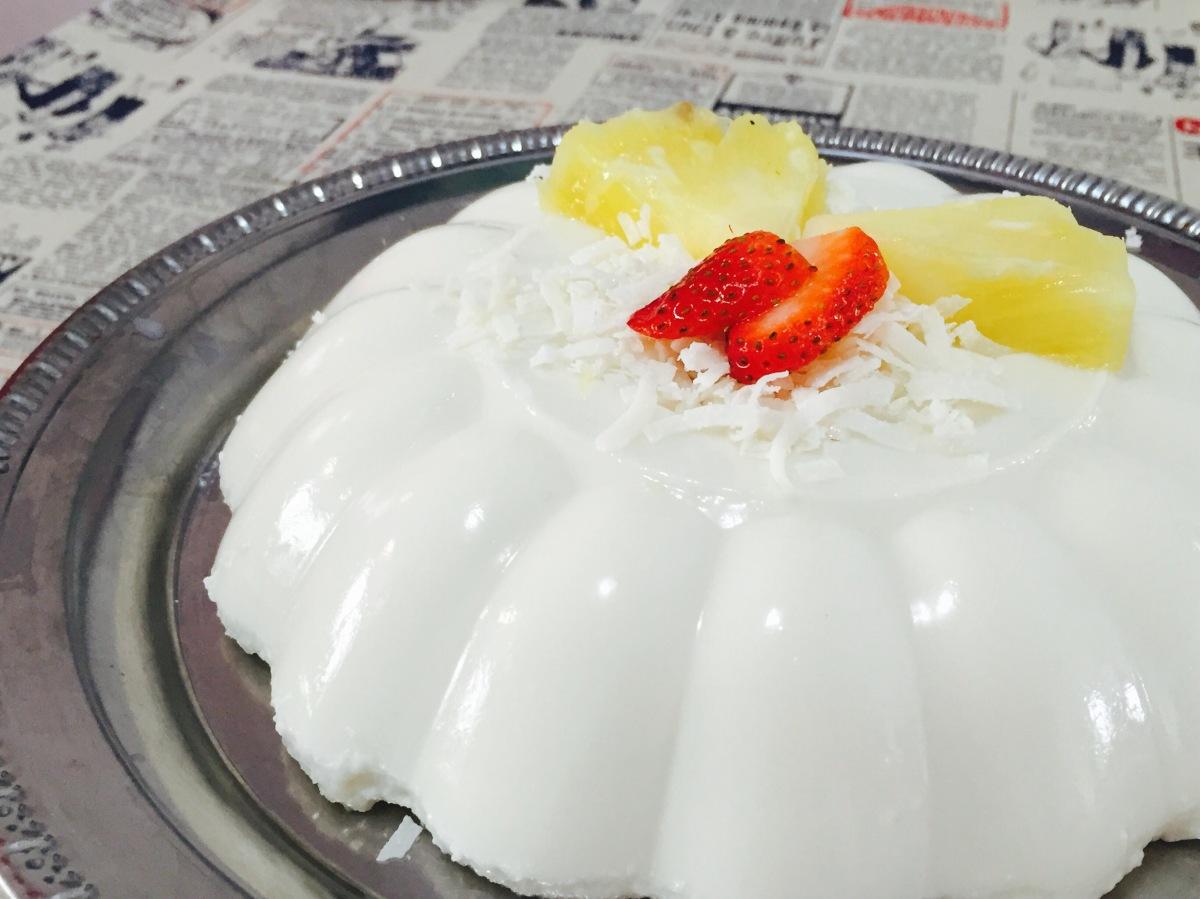 Gelatina tropical de yogur ycoco